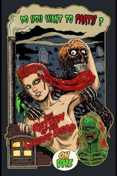 """The Return Of The Living Dead"" Official Poster For The 30th, Anniversary Of VHS Screening Of ""The Return Of The Living Dead"" 1985 . Mile High Horror Film Festival 2015. Poster Art by Joe Oliver."