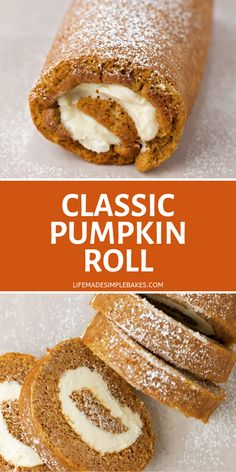 Classic Pumpkin Roll Recipe – Life Made Simple Delicious pumpkin roll that is made from a pumpkin cake filled and cream cheese filling all rolled and sliced as a perfect fall dessert. It's great for holidays or any fall celebration. Fall Dessert Recipes, Fall Desserts, Fall Recipes, Holiday Recipes, Thanksgiving Desserts, Health Desserts, Christmas Desserts, Cake Candy, Cake Roll Recipes