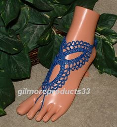 Blue Crochet Barefoot Sandals Sexy Anklet Foot Jewelry Spring Wedding Shoes Yoga Leg Wear Steampunk Clothing Bellydance Accessories