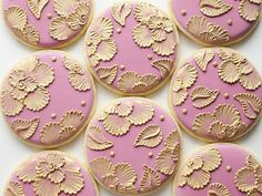 Pink and Gold Brush Embroidered Cookies  One Dozen by SweetAmbs, $60.00