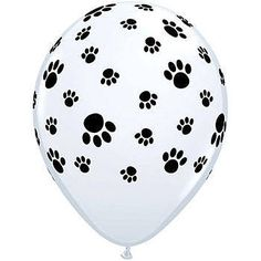 These Paw Prints Around Latex Balloons are white balloons that feature black paw prints in different sizes scattered around the balloon. Each Paw Print Balloon measures 11 inches. Dog Themed Parties, Puppy Birthday Parties, Puppy Party, Birthday Ideas, 5th Birthday, Dalmatian Party, Happy Birthday, Birthday Wishes, Printed Balloons