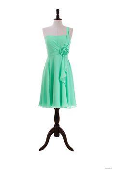 wedding shower One Shoulder Chiffon Dress With Flower Detail $117.98