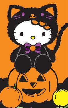 By Artist Unknown. Hello Kitty Art, Hello Kitty My Melody, Hello Kitty Pictures, Hello Kitty Stuff, Hello Kitty Halloween, Cute Halloween, Halloween 2019, Hello Kitty Birthday, Halloween Backgrounds