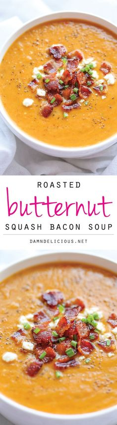 <p>This is by far the best butternut squash soup ever, with the help of those crisp bacon bits blended right into the soup! I hope it's not too late to still enjoy a piping hot bowl of the coziest...