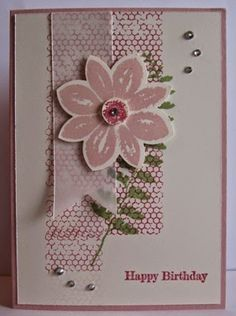 Easy card using the Stampin Up Flower Medallion Punch and Petal ...