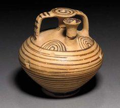 Mycenaean pottery stirrup jar, Late Helladic IIIC, Circa 1200 B. Mycenaean, Minoan, Ancient Art, Ancient History, Alexandre Le Grand, Pottery Patterns, Archaeological Finds, Bronze Age, Jaba