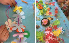 collier fleurs pailles papier