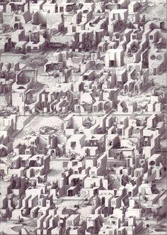 British artist Paul Noble has received widespread international recognition for his monumental eight-year project—the meticulous depiction of a fictional city called Nobson Newtown. Noble is a master draughtsman, whose wall-sized drawings offer aerial perspectives over a fantastical cityscape that echoes the visionary ethos of projects such as the Garden City Movement