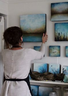 In the studio....a small glimpse of my encaustic art wall. Alanna Sparanese