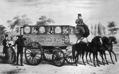 Caption:Passengers travel between Paddington and the Bank aboard Shillibeer's omnibus for a fare of one shilling.1829