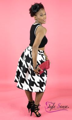 """Honey this ensemble is all black and white! This youthful look was inspired by Janelle Monae! And hey if you have it flaunt it! The black crop sweater with beige trim works perfect with the hounds tooth flare skirt!  The lace up shoes and red clutch (to match my lipstick) add the finishing touches to this look.The purpose of iTeach Stylesense is to display how  """"you can be beautiful and stylist on a budget"""", without breaking the bank"""". Cost $65.00 All Black, Black And White, Red Clutch, Hounds Tooth, Match Me, Cropped Sweater, Lace Up Shoes, Flare Skirt, Purpose"""