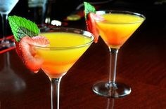 Applebee's Mango Martini recipe; 1 oz Captain Morgan® Parrot Bay mango rum 1/2 oz peach schnapps 1/2 oz Cointreau® orange liqueur 1 oz cranberry juice 1 oz pineapple juice