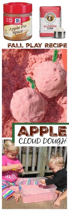 Dough Recipe Apple cloud dough recipe for play. This takes seconds to make, and the kids…Apple cloud dough recipe for play. This takes seconds to make, and the kids… Preschool Apple Theme, Apple Activities, Fall Preschool, Preschool Themes, Autumn Activities, Preschool Activities, Indoor Activities, Preschool Apples, Daycare Themes