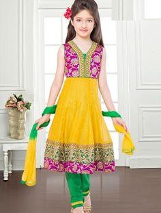 Fair Net Yellow Designer Kids Wear Salwar Suit