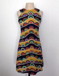 vintage mod psychedelic print minidress. Ca.1962