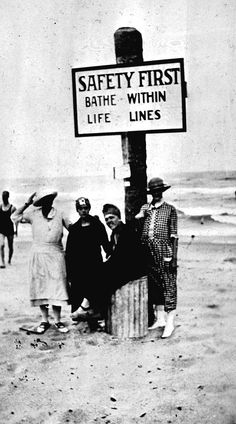 Bathers at Beach Safety Sign, Palm Beach, Florida, 1920s (State Archives of Florida)