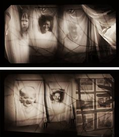 projection - personal photos These images use old family photos and memorabilia. They are projected onto thin fabric and seem quite insubstantial. The use of a dark, shadowed background also adds to the sense of fading memories or family past.