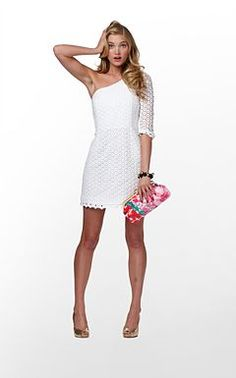 Lilly dress + bright clutch. obsessing over one-shoulder dresses