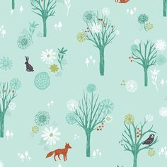 Woodland- Wildwood - A cotton fabric collection inspired by woodland walks in the Yorkshire countryside, a collection that shows nature in bold colours and patterns.