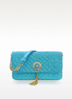 Versace Vanitas Light Blue Quilted Leather Shoulder Bag