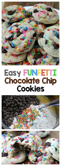 Easy Funfetti Chocolate Chip Cookies- Soft and chewy cookies that are simple to make with a cake mix, chocolate chips, and just a few more ingredients. Is there anything more fun and delicious than…More Soft Chocolate Chip Cookies, Brownie Cookies, Cookies Soft, Chocolate Chips, White Chocolate, Cake Chocolate, Chocolate Snacks, Funfetti Cake Mix Cookies, Desert Recipes