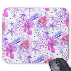 Tropical Nature Flower Watercolor Mouse Pad - patterns pattern special unique design gift idea diy