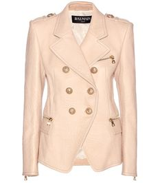 Beige Balmain  leather jacket  for woman Light Pink Leather Jacket By Balmain #chaquetadecuero #polipiel #biker #ante #anteflecos #pielflecos #polipielflecos #antelina #decuero #leather #suede #suedette #fauxleather