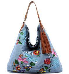 Handbag Republic Reversible Fl Embroidered Hobo Denim Light In Clothing Shoes Accessories Women S Handbags Bags Purses