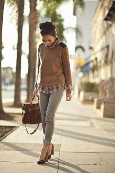 Top :: Zara sweater, Mike & Chris shirt /  Bottom :: Paige /  Bag :: Proenza Schouler /  Shoes :: Yves Saint Laurent /  Accessories :: BCBG ring, wrap bracelet thanks to Chan Luu,  Gorjana bracelets