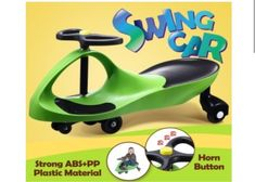 Kids Swing Car Toy Outdoor Scooter Swivel Ride On Green Melbourne  | eBay