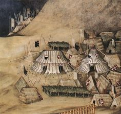 1327 The Fresco of Guidoriccio da Fogliano by Simone Martini, Italy. The distance of the side ropes from the tent makes it look like no side poles were used. Wedge structures look like they are covered in thatch.