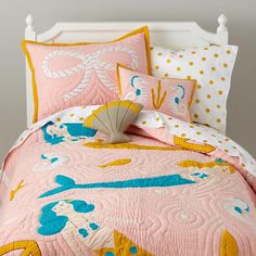 The Land of Nod | Girls Bedding: Mermaid Bedding Set in Girl Bedding....oh wow this would match Sid's room. Need to keep this in mind for when she gets older!