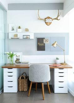 Trendy ideas for home office ideas decor ikea hacks Office Ideas For Work, Office Organization At Work, Small Office, Home Decor Furniture, Online Furniture, Country Kitchen Farmhouse, Farmhouse Kitchens, Farmhouse Style, Ikea Desk