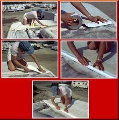 White Eternabond Mobile Home RV Rubber Roof Repair Micro Sealant Tape Roof Leak Repair, Camper Repair, Roof Flashing, Camper Parts, Camper Makeover, Rv Life, Motorhome, Campers, Seals