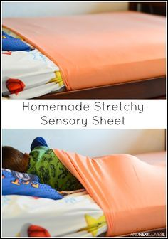Tutorial for making homemade DIY stretchy lycra sensory sheets for kids with autism or sensory processing disorder.Tap the link to check out great fidgets and sensory toys. Check back often for sales and new items. Happy Hands make Happy People! Sensory Therapy, Sensory Tools, Sensory Diet, Sensory Issues, Sensory Play, Diy Sensory Toys, Sensory Toys For Autism, Sensory Bags, Diy Toys