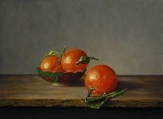 Stilleven met mandarijnen in bronzen schaaltje - 18 x 24 cm - oil on panel - € 1.750,00