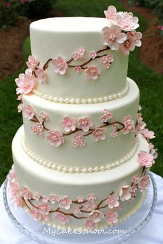 """Cherry Blossoms & Pearls!  A cake from a recent video tutorial of mine on MyCakeSchool.com ;0)"""