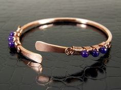 Copper Bangle Bracelet Wire Wrapped with Purple by BonzerBeads, $21.00