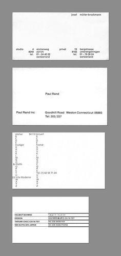 Business cards of Josef Müller-Brockmann, Paul Rand, Adrian Frutiger and Helmut Schmid