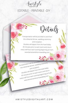 Printable Wedding Details Card, Wedding Information Card, Wedding Accommodation Card - embellished with adorable watercolor roses elements by Amistyle Digital Art on Etsy