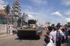 September 1989. Vietnamese troop withdrawal from Phnom Penh. Appears to be outside Wat Onalaom.