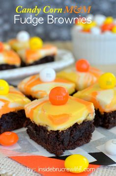 Recipe For Candy Corn M-M Fudge Brownies - Brownies topped with a fun candy corn colored fudge and M&M candies.