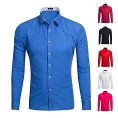 2017 Men fold jacquard Shirt 8 Colors long sleeved Fashion Slim fit male wear mens clothing casual Shirt S-2XL #Affiliate