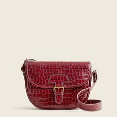 J.Crew: Classic Large Saddle Bag In Croc-embossed Leather For Women Pebbled Leather, Crocs, Saddle Bags, Continental Wallet, Bag Accessories, Messenger Bag, Purses And Bags, Satchel, Classic