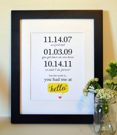 """so cute important dates print - """"the truth is you had me at hello"""""""