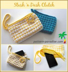 FREE Crochet Pattern - Stash 'n Dash Clutch Stash n Dash Clutch - free pattern from Pattern Paradise! This great looking bag pattern comes in two sizes, and there's a lining tutorial too! Make one to match every outfit - or to stash your hooks and notions Crochet Clutch Pattern, Crochet Pouch, Crochet Gifts, Crochet Patterns, Crochet Bags, Crochet Handbags, Crochet Purses, Free Form Crochet, Crochet Market Bag