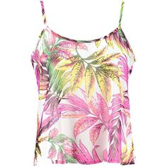 Boohoo Julietta Tropical Print Mesh Beach Cami Top ($5) ❤ liked on Polyvore featuring tops, shirts, mesh tank top, beach shirts, pink tank top, mesh shirt and pink tank