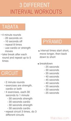 3 different interval workouts, click for the printable version