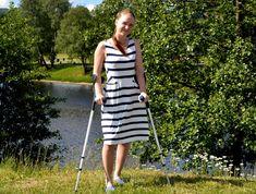 Girl on crutches Crutches, Dresses, Fashion, Vestidos, Moda, Crutch, Fashion Styles, Dress, Fashion Illustrations