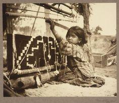 Navaho girl sitting at a traditional loom --https://fbcdn-sphotos-f-a.akamaihd.net/hphotos-ak-prn1/q71/s720x720/945261_10151658672106368_1972771383_n.jpg